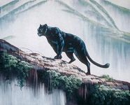 Black Panther on a Log